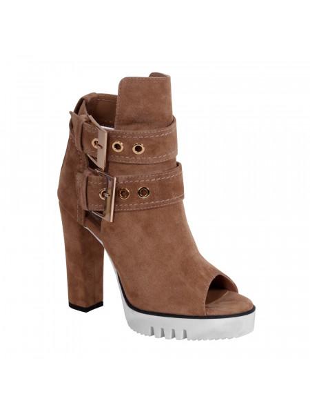 Ботинки женские летние на высоком каблуке